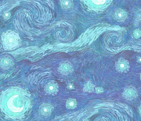 misty starry night, blue moon fabric by weavingmajor on Spoonflower - custom fabric