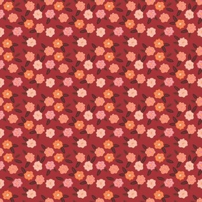 Small Scale Fall Floral in Red