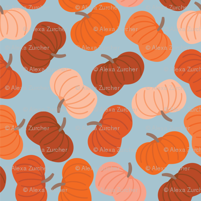 Small Scale Fall Pumpkins in Blue