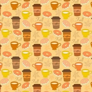 fall coffee cups and donuts
