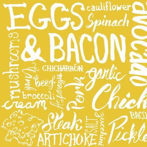 Keto Food Typographic Grid - Yellow