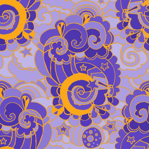 Up Up and Away! Purple Gold embossed