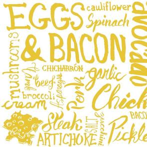 Keto Food Typographic Grid - White & Yellow