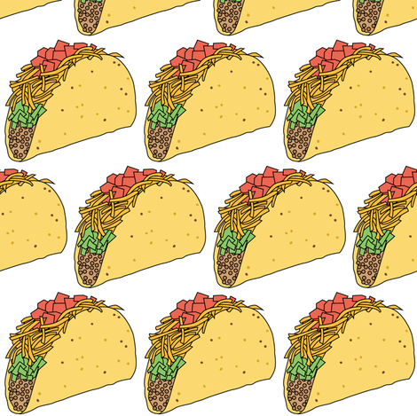 tacos on white fabric by lilcubby on Spoonflower - custom fabric