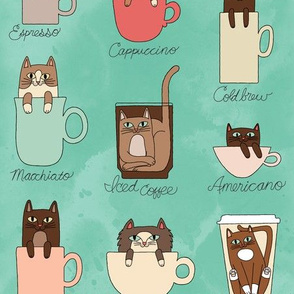 Coffee Cats in Minty