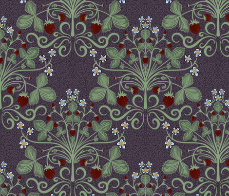 Victorian Strawberries (purple) fabric by new_branch_studio on Spoonflower - custom fabric