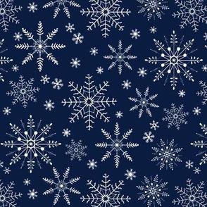 Snowflakes - navy