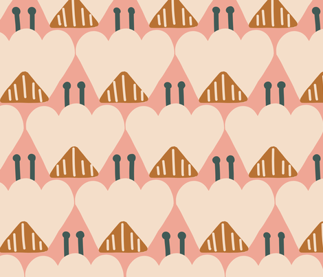 Spring Bloom - peach fabric by lemonni on Spoonflower - custom fabric