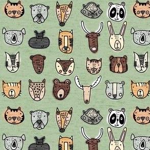 Wild Animal Portraits Green Texture