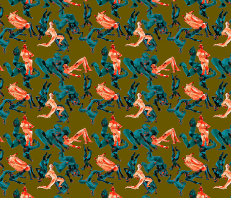 angry nakeys - olive fabric by zea_b on Spoonflower - custom fabric