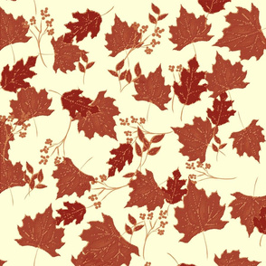 Red Leaves on light fabric