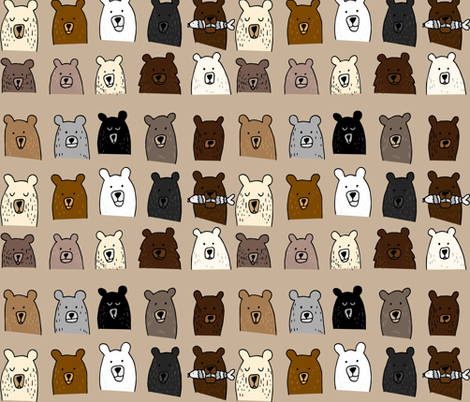 Bear Portraits on Brown fabric by heatherdoucette on Spoonflower - custom fabric