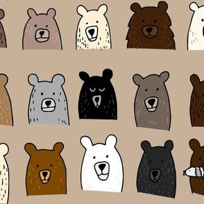 Bear Portraits on Brown