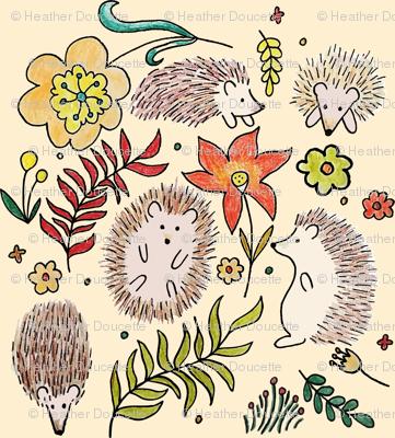 Hedgehogs Field in Cream