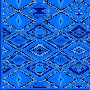 Blue Navajo-inspired Geometric Weave