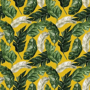 "4"" Tropical Banana Leaves // Golden Ochre Yellow"