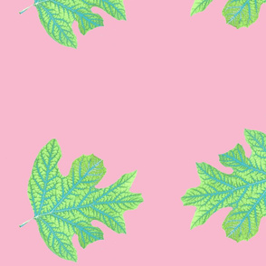Double Green Leaf on Pink with white stem-ch