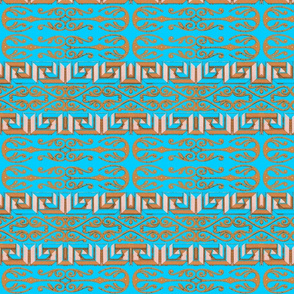Egyptian Scroll and Maze on Turquoise