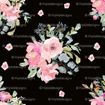 "8"" Blushing Beauty Florals // Black"