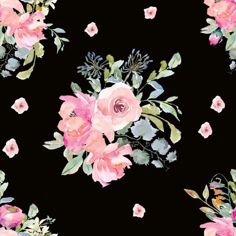 "8"" Blushing Beauty Florals // Black fabric by hipkiddesigns on Spoonflower - custom fabric"