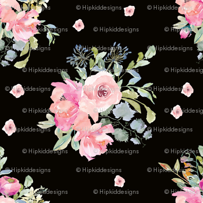 "12"" Blushing Beauty Florals // Black"