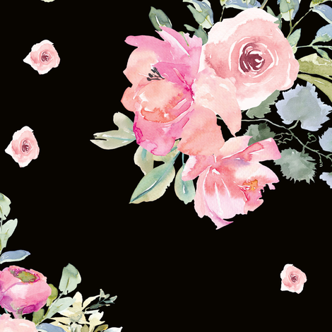 "12"" Blushing Beauty Florals // Black fabric by hipkiddesigns on Spoonflower - custom fabric"