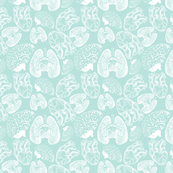 Anatomical Organ Variety in White on Seafoam Small