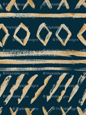 Gold Watercolor Mud Cloth // Tiber Navy // Large