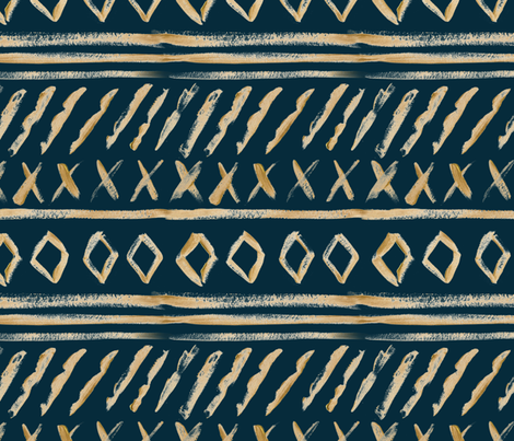 Gold Watercolor Mud Cloth // Tiber Navy // Large fabric by hipkiddesigns on Spoonflower - custom fabric