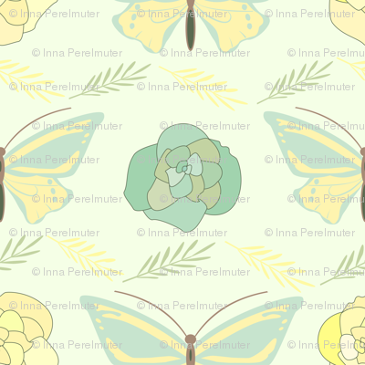 green and yellow  butterflies and roses