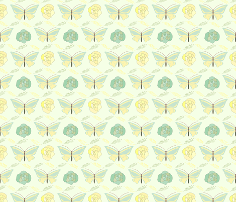 green and yellow  butterflies and roses  fabric by inotra on Spoonflower - custom fabric