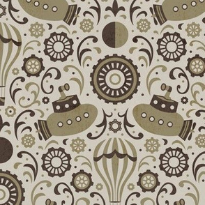 Steampunk Verne Damask