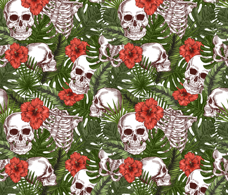 Tropical halloween fabric by adehoidar on Spoonflower - custom fabric