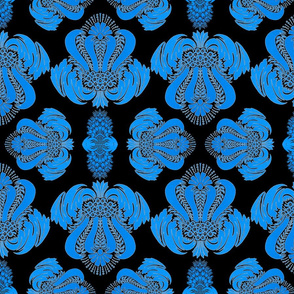 Damask in Black and Blue
