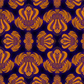Damask in Gold with UV Glow