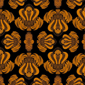 Damask in Black and Gold