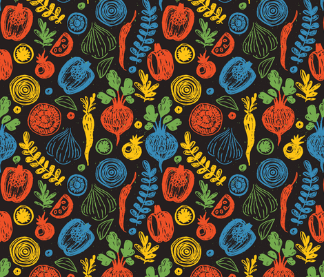 Doodle vegetables fabric by adehoidar on Spoonflower - custom fabric
