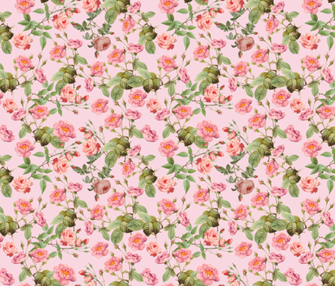 Lovely Vintage Roses on Pink - Small - 18in x 18in fabric by utart on Spoonflower - custom fabric