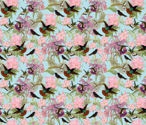 Hummingbirds on Tropical Flowers - Small - 18in x 18in fabric by utart on Spoonflower - custom fabric