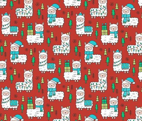 Holidays Christmas llamas Blue on Dark Red fabric by caja_design on Spoonflower - custom fabric