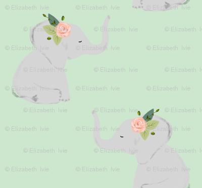 floral elephants // pink rose // mint