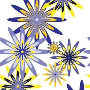 sixties flowers large - blue 2