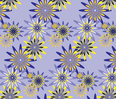 sixties flowers large - blue  fabric by michaelakobyakov on Spoonflower - custom fabric