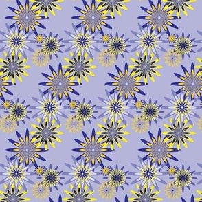 sixties flowers small  - blue
