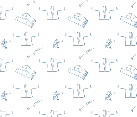 Gi Doodles in Blue on White fabric by fightalchemy on Spoonflower - custom fabric