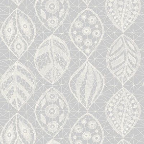 Lace Leaves - H White, Pale Gray