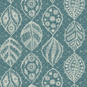 Lace Leaves - Natural, Teal