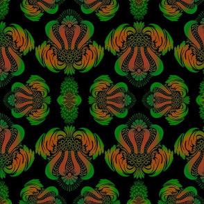 Damask Pattern in Green, Orange and Black