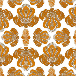 Damask Pattern in Gold on White