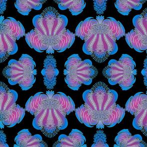 Damask pattern in Black, Blue and Magenta